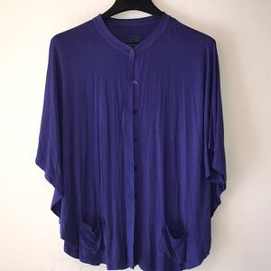 LOGO by LORI GOLDSTEIN Button Front Knit Cape S